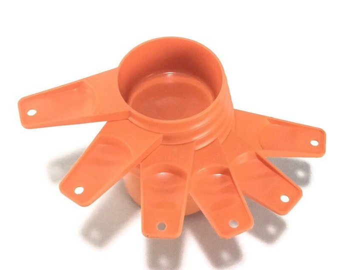 Vintage Orange Tupperware Measuring Cup Set