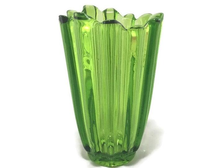 Vintage Federal Glass 'Celestial' Vase * Limelight * Avocado Green