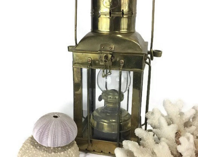 Vintage Neptune Nautical Oil Lantern * Brass Ship Lamp * Maritime Light