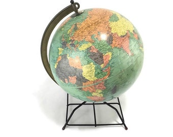 Vintage Globe * Mid Century Modern Wire Stand * Cold War Era Earth Globe * 12 Inch Diameter