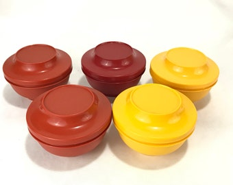 Tupperware #1436 Serve and Seal Bowls with Lids * Set of 5 Kitchen Storage Containers * Harvest Colors