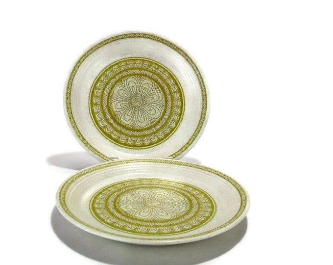 Vintage Franciscan Hacienda Lime Green Salad Plates * Set of 2 * Mod Flower Power