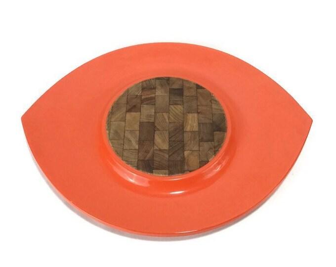 Vintage Dansk Festivaal 'Eyeball' Tray * Red-Orange Lacquer