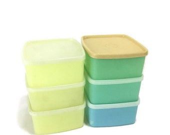 Vintage Tupperware * Square Round Covered Container * Blue, Green and Yellow * Set of 6