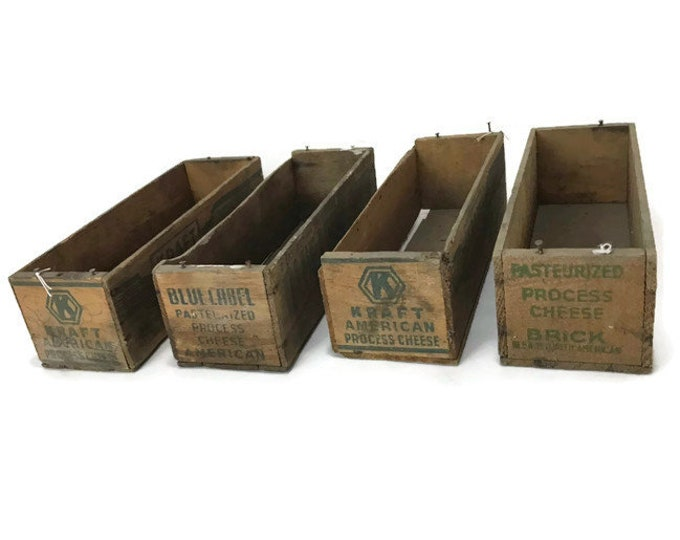 Vintage Wood Cheese Boxes * Kraft * Blue Label * Fairmonts * Set of 4
