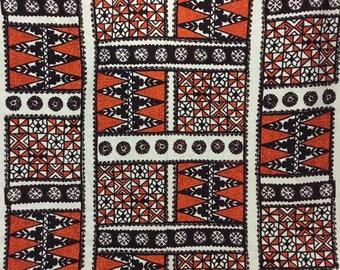 Vintage Geometric Barkcloth Yardage * Novelty Print Screenprinted Cotton Fabric