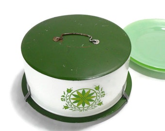Vintage Metal Cake Carrier * Green Flowers on White Cake Box * Decoware Kitchen Storage