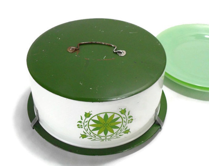 Vintage Metal Cake Carrier * Green Flowers on White Cake Box * Decoware Kitchen Storage