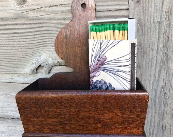 Vintage Match Holder * Wall Storage Bin * Phone Charge Station * Remote Storage * Organizer