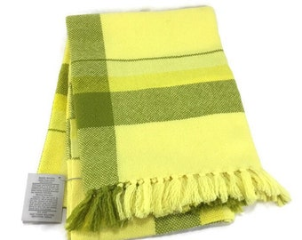 Hand Woven Wool Throw * Yellow and Green Plaid * Unused with Tags