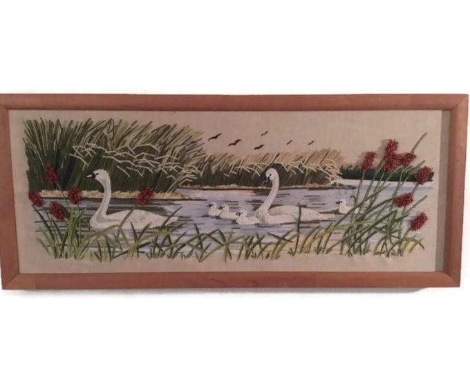 Vintage Needlework Swans * Framed Handmade Needlepoint Lake Scene