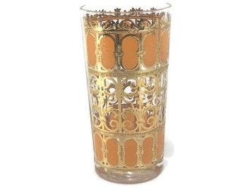 Vintage Culver Orange Flat Tumbler Cocktail Glass * 22 K Gold Filagree