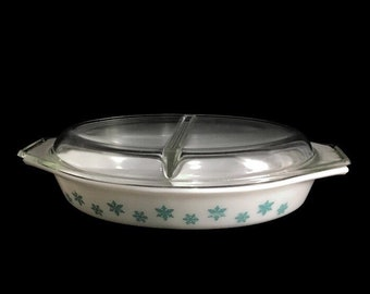 Pyrex Turquoise Snowflake Oval Divided Dish and Lid