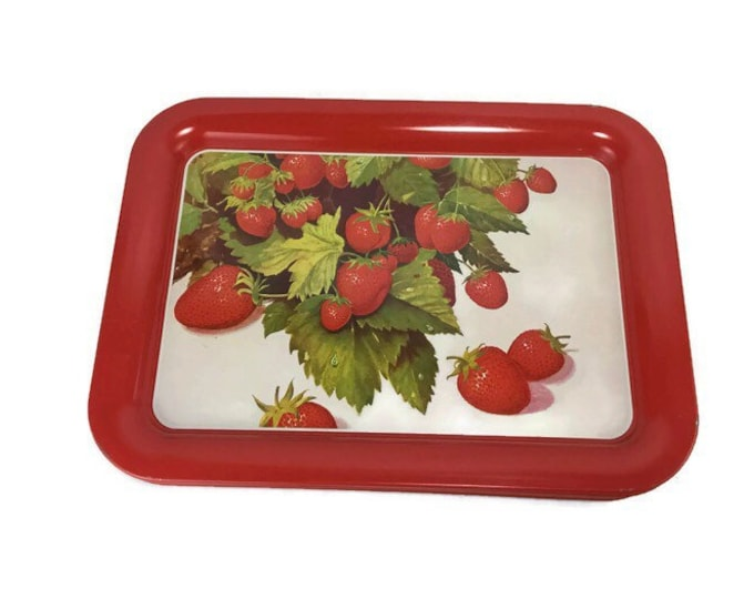Red Strawberry Serving Trays * Set of 7