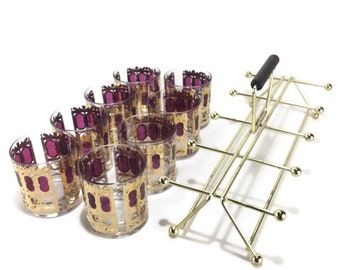 Culver Cranberry Scroll Double Old Fashioned Cocktail Glass Set and Caddy * 22 K Gold Filagree