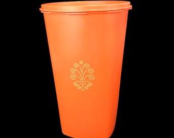 Vintage Orange Tupperware 1222 Canister with Servalier Lid
