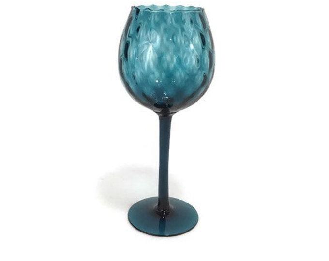 Blue Italian Art Glass Vase * Empoli Optic Glass