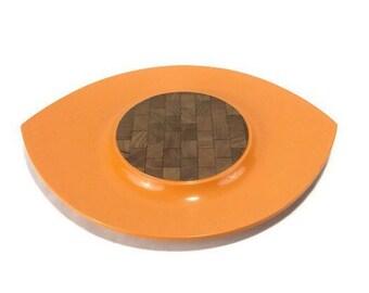 Vintage Dansk Festivaal 'Eyeball' Tray * Light Orange Lacquer