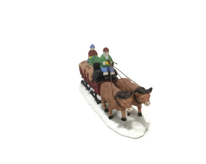 Vintage Dickens Village * Ox Sled * Department 56 Handpainted Porcelain Accessory