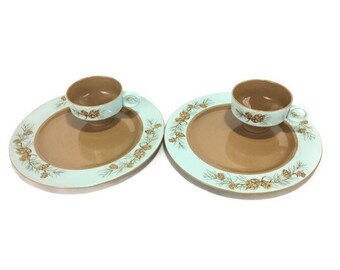 """Vintage Taylor Smith Taylor """"Azure Pines"""" Dinner Plates and Rim Soup Bowls * Set of 2 Taylorcraft Dinnerware"""