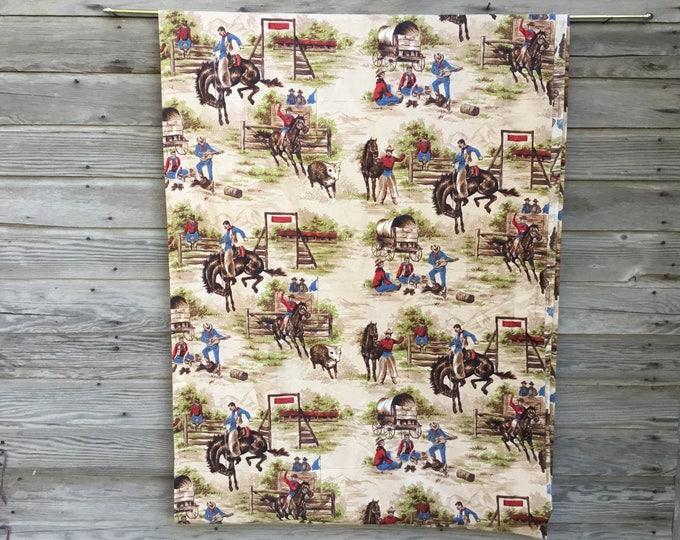 Vintage Cotton Fabric * Cowboy Bucking Bronco Horse * Medium Weight Yardage