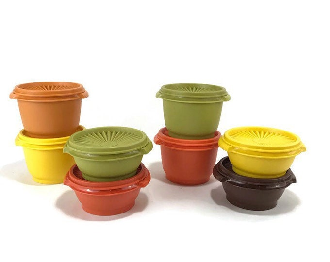 Vintage Tupperware #1323 and 886 Storage Containers & Lids * Set of 8 Harvest Colors