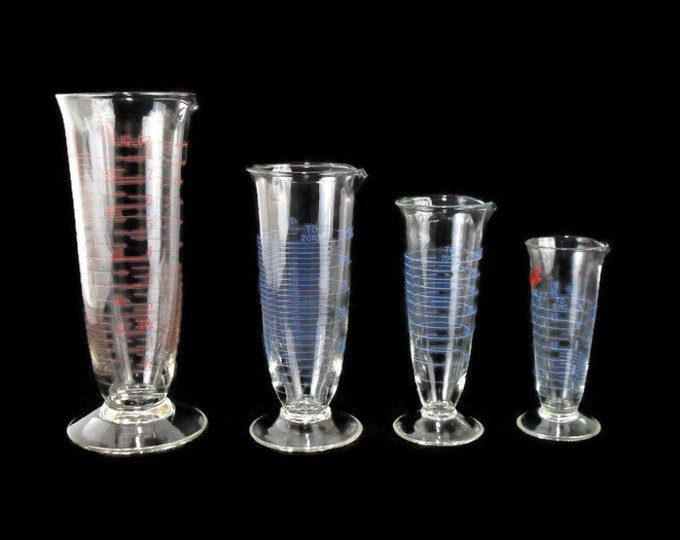 Vintage Pharmaceudical Graduates * Set of 4 * Dual Scale Graduated Apothecary Glass