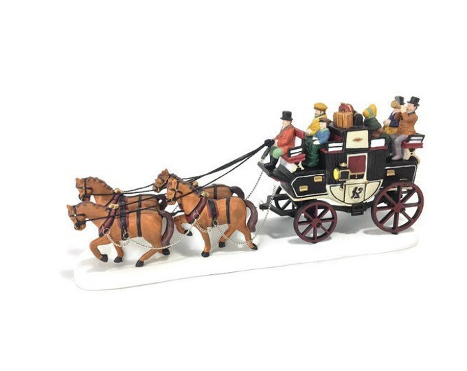 Vintage Dickens Village Holiday Coach New in Box * Department 56 Handpainted Porcelain Accessory