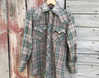 Men's Western Wool Plaid Shirt with Pearl Snap Closures
