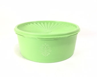 Vintage Lime Green Tupperware #1240 Servalier Container with Lid