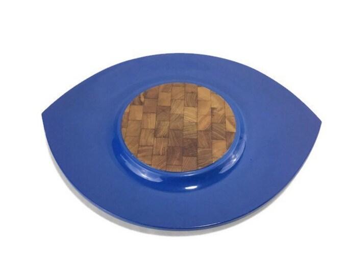 Vintage Dansk Festivaal 'Eyeball' Tray * Blue Lacquer