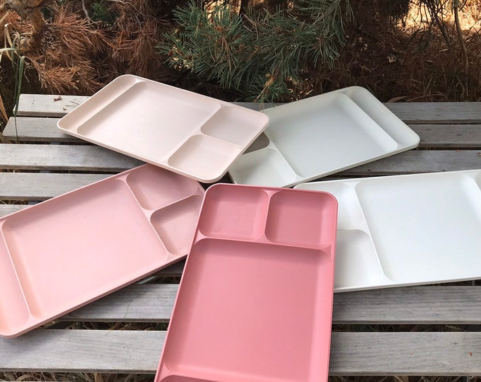 Vintage Tupperware Compartmented Food Trays * Set of 5 Pink Tones