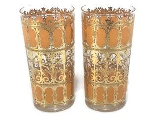 Vintage Culver Orange Flat Tumbler Cocktail Glass * 22 K Gold Filagree * Set of 2