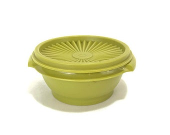 Vintage Tupperware Avocado Green #1323 Servalier Storage Container & Lid * Sold Idividually or in Sets