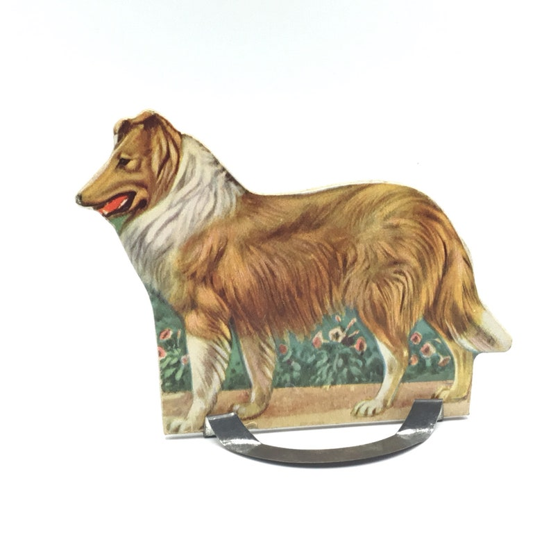 Whitman Lithograph Scotch Collie Dog Educational Graphic Toy Vintage Farm Animal Stand-Up