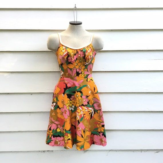 Vintage DeWeese Sun Dress * Mid Century Mod Orange