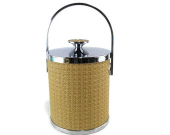 Vintage Ice Bucket * Faux Wicker * Chrome Accents