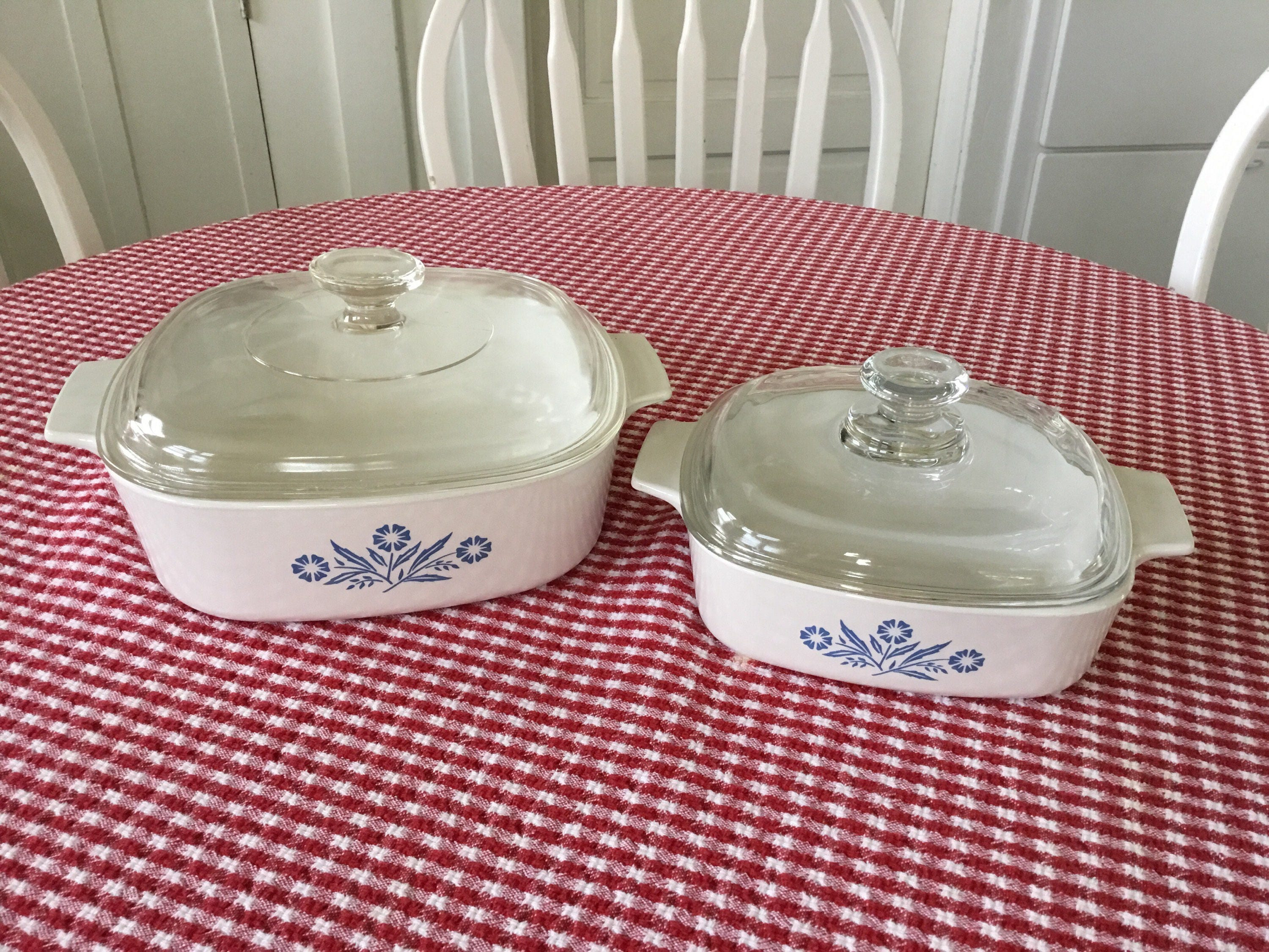 Vintage Corning Ware Blue Cornflower Baking Dishes Square 1 and 2