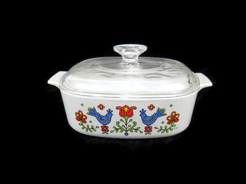Bluebirds Pyrex Friendship Compatible Corning Ware 2 Quart Country Festival Baking Dish* Square Casserole with Lid