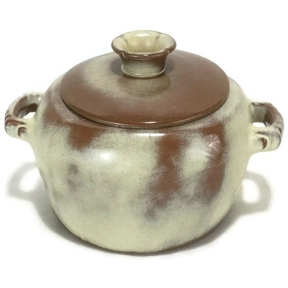 Vintage Frankoma Plainsman Gold Covered Casserole 5W Bean Pot