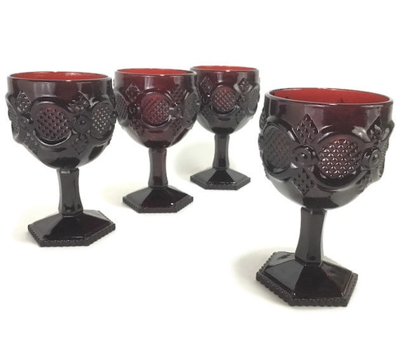 Vintage Avon Cape Cod Ruby Red Goblets Set Of 4 Etsy