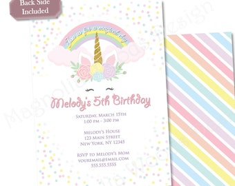 Unicorn Birthday Invitation, Girls Birthday Invitation, Unicorn Invitation, Unicorn Birthday Invite, Unicorn Invite - Printable File