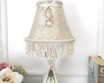 Lampshade, Small Lamp shade, French Brocade Lampshade, Beaded lampshade, Chandelier Shade