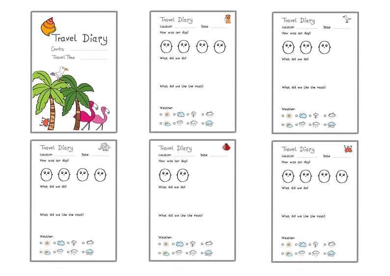 Travel Diary template for travel documentation, coloured and black&white,  English version, for digital download