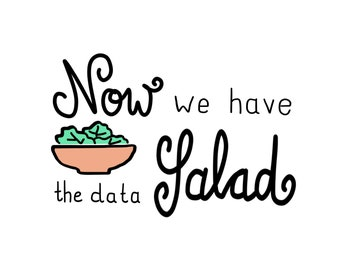 "Card ""Now we have the data salad"", coloured & b/w, for digital download"