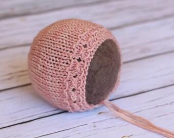 Newborn bonnet, knit newborn hat, newborn photo prop