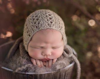 Lace knit bonnet, knit newborn hat, newborn photo prop