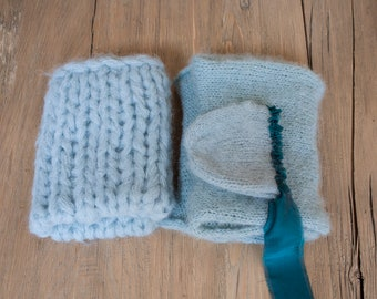 "Fluffy alpaca bonnet, wrap 60"" and blanket, newborn photo prop"