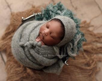 "3 SETS newborn hat and wrap 12"" x 60"",brushed alpaca set, newborn photography prop, 20 colours"