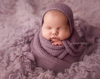 """Alpaca knit tie bonnet and wrap set 12"""" x 55"""", 20 colors,newborn photo prop"""